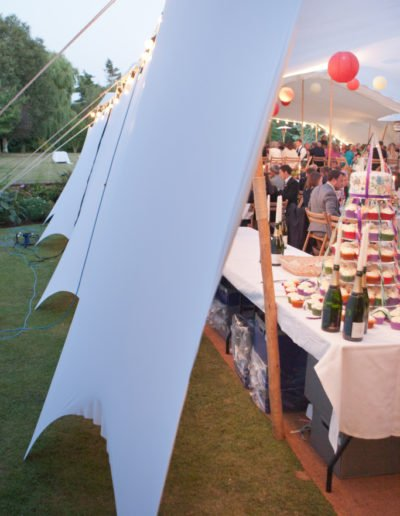 white stretch tent