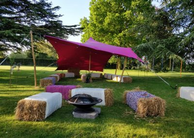 Pink stretch tent chill out area