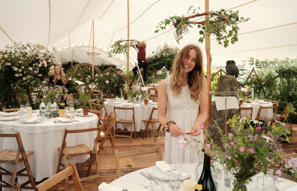 wedding white stretch tent rustic