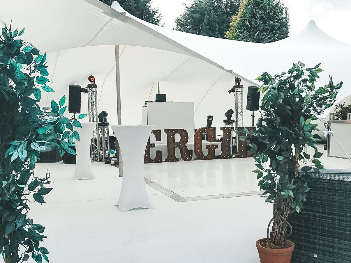 white themed marquee party