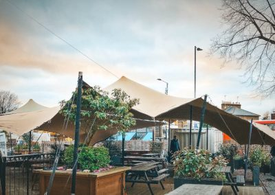 Urban spaces with stretch tents