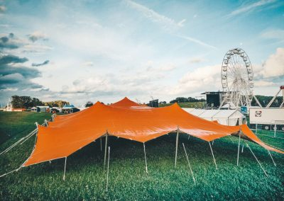 Big orange stretch tent at fairground