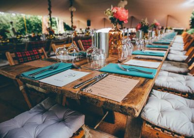 Rustic table display under our chino stretch tent