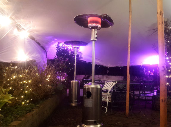 stretch tent patio heaters