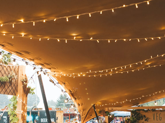 stretch tent fairy lights