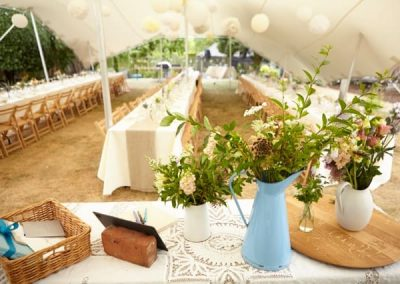 White summer stretch tent wedding