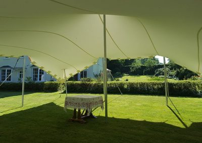 White stretch tent garden party in Dorset