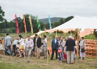 Colourful flags, wedding tent