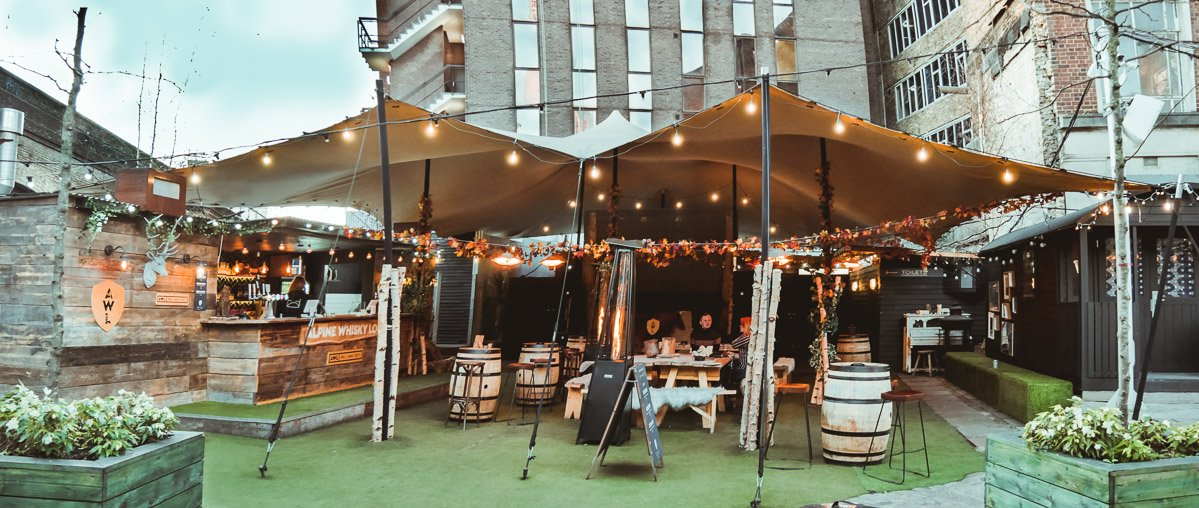 Stretch tent for pub beer gardens