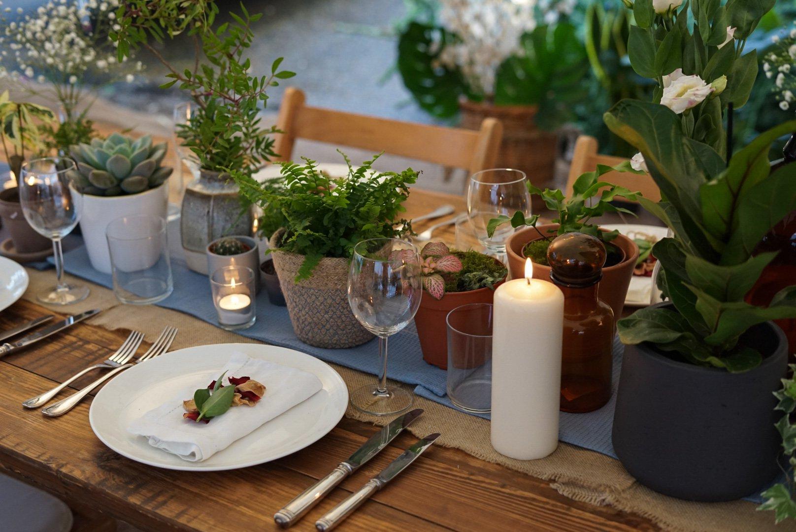 Botanical wedding theme styling
